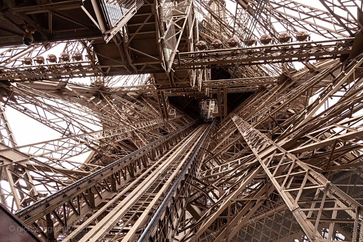Eiffel Tower Inside Horizontal Photo