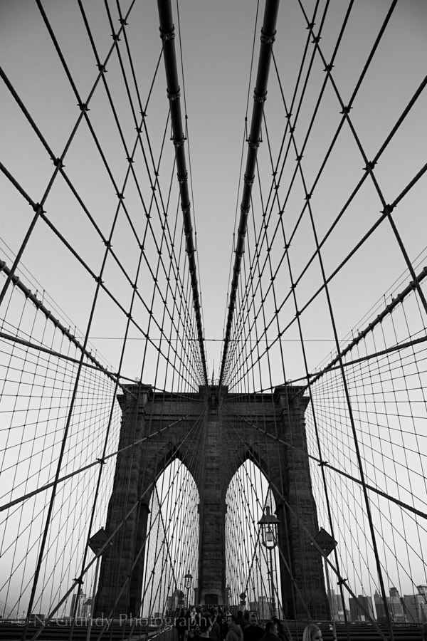 Brooklyn Bridge Symmetry, B&W