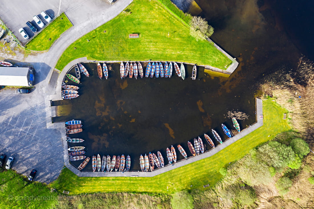 Woodquay boats by galway aerial photography