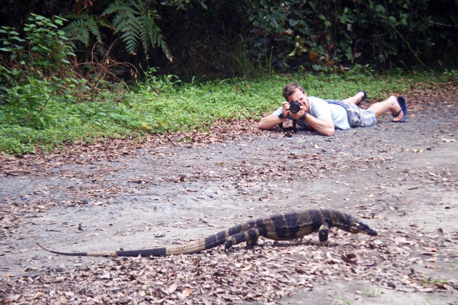 Galway Photographer Nicholas Grundy photographing a goanna