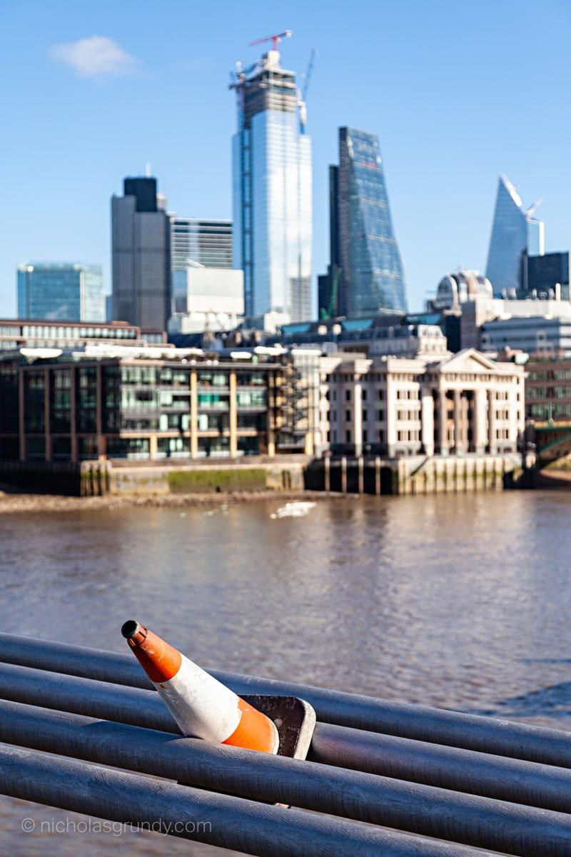 Millenium Bridge Traffic Cone Photo London