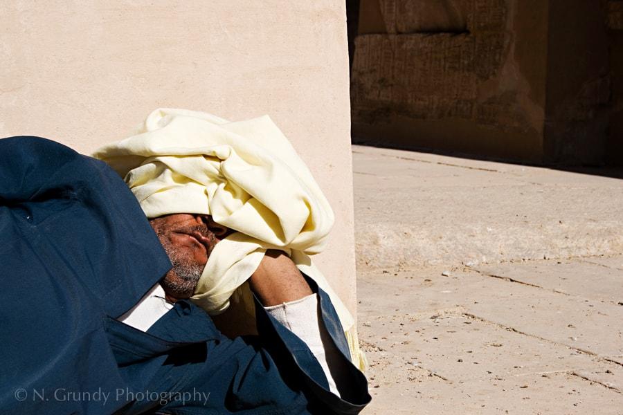 Sleeping Temple Guard, Medinat Habu, Egypt