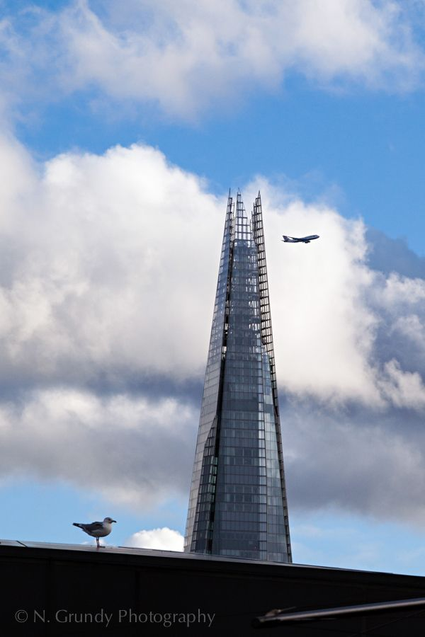 The Shard with Seagull and Airplane